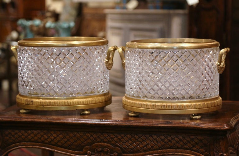 Pair of 19th Century French Baccarat Style Bronze Dore and Cut Glass Planters For Sale 1