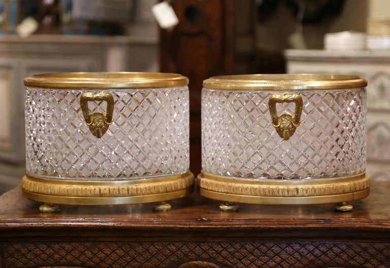 Pair of 19th Century French Baccarat Style Bronze Dore and Cut Glass Planters For Sale 2