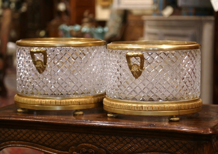 Pair of 19th Century French Baccarat Style Bronze Dore and Cut Glass Planters For Sale 3