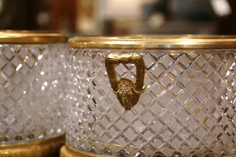Pair of 19th Century French Baccarat Style Bronze Dore and Cut Glass Planters For Sale 4