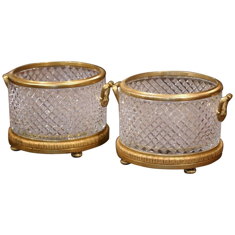 Pair of 19th Century French Baccarat Style Bronze Dore and Cut Glass Planters For Sale