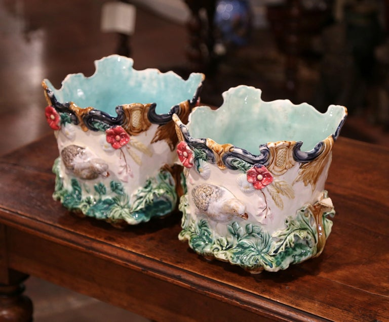 Pair of 19th Century French Barbotine Cachepots with Bird and Floral Decor For Sale 5