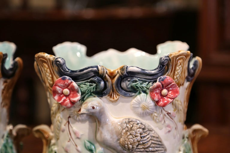 Pair of 19th Century French Barbotine Cachepots with Bird and Floral Decor For Sale 6