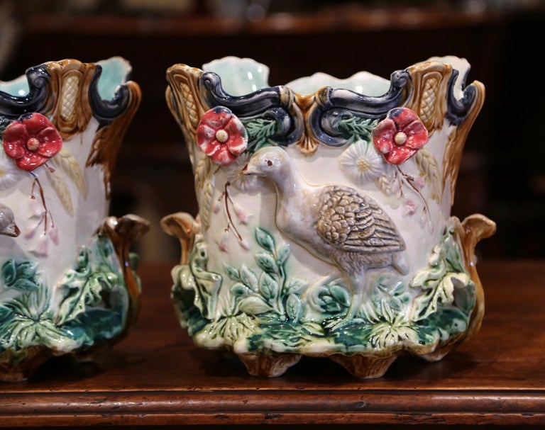 Hand-Crafted Pair of 19th Century French Barbotine Cachepots with Bird and Floral Decor For Sale