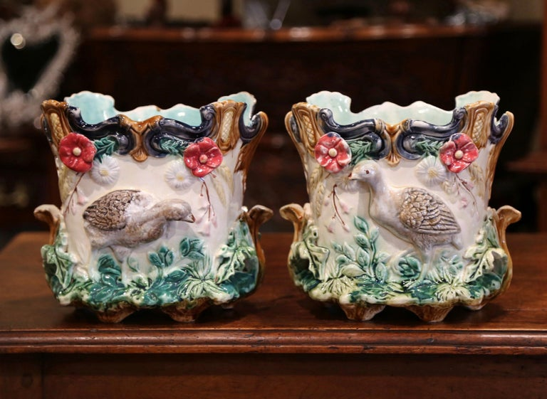 Ceramic Pair of 19th Century French Barbotine Cachepots with Bird and Floral Decor For Sale