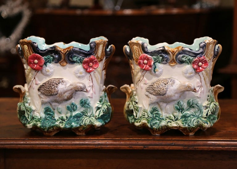 Pair of 19th Century French Barbotine Cachepots with Bird and Floral Decor For Sale 1