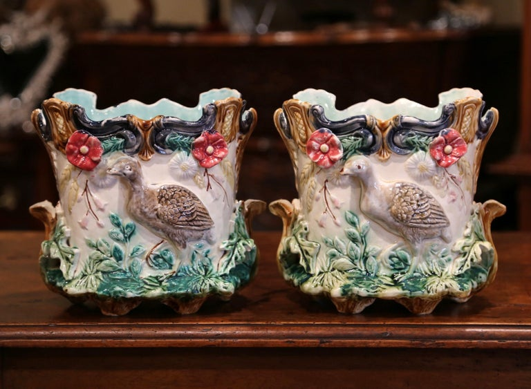 Pair of 19th Century French Barbotine Cachepots with Bird and Floral Decor For Sale 2