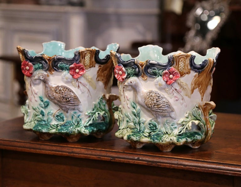 Pair of 19th Century French Barbotine Cachepots with Bird and Floral Decor For Sale 3