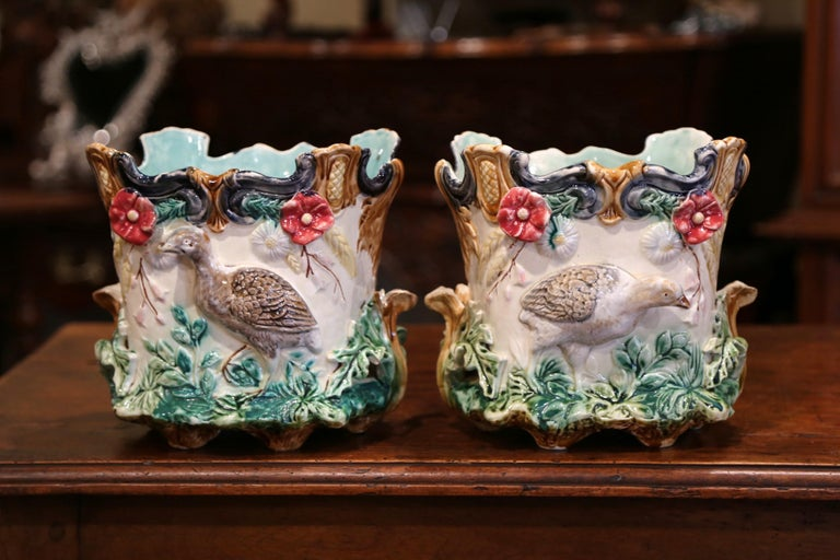 Pair of 19th Century French Barbotine Cachepots with Bird and Floral Decor For Sale 4