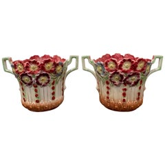 Pair of 19th Century French Barbotine Cachepots with Floral Motifs by Onnaing
