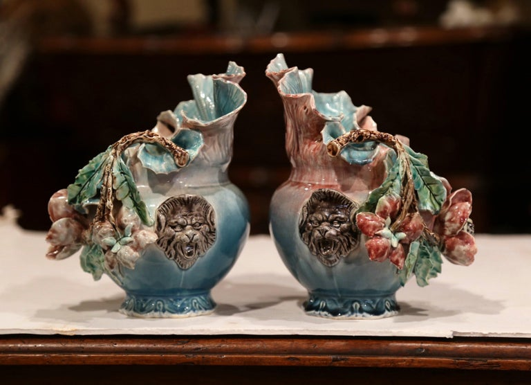 Pair of 19th Century French Barbotine Cachepots with Hand Painted Flowers In Excellent Condition For Sale In Dallas, TX