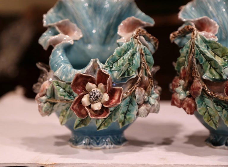Pair of 19th Century French Barbotine Cachepots with Hand Painted Flowers For Sale 2
