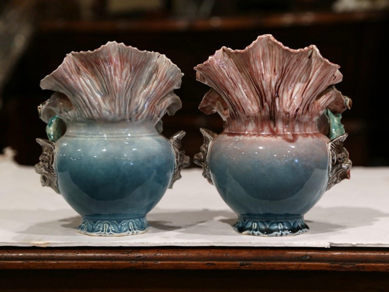 Pair of 19th Century French Barbotine Cachepots with Hand Painted Flowers For Sale 4