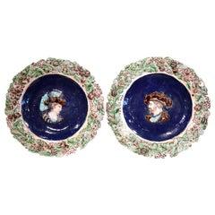 Pair of 19th Century French Barbotine Ceramic Chargers with King Francois I