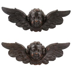 Pair of 19th Century French Baroque Style Carved Wooden Angels with Brown Patina