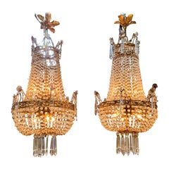 Pair of 19th Century French Beaded Crystal and Amethyst Chandeliers