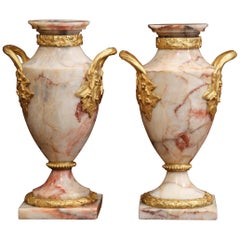 Pair of 19th Century French Beige Marble and Bronze Dore Cassolettes Vases