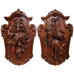 Pair of 19th Century French Black Forest Carved Walnut Wall Trophy Sculptures