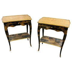 Pair of 19th Century French Black Lacquered Chinoiserie Side Tables