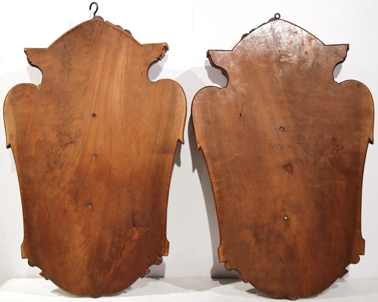 Pair of 19th Century French Black Walnut Carved Walnut Wall Trophy Sculptures For Sale 5