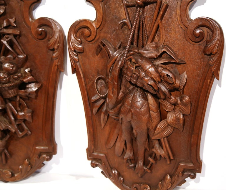 Hand-Carved Pair of 19th Century French Black Walnut Carved Walnut Wall Trophy Sculptures For Sale