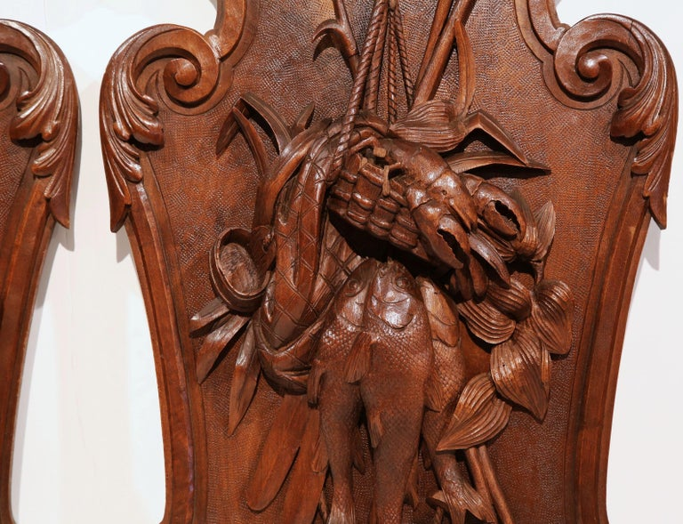 Pair of 19th Century French Black Walnut Carved Walnut Wall Trophy Sculptures In Excellent Condition For Sale In Dallas, TX