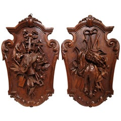 Pair of 19th Century French Black Walnut Carved Walnut Wall Trophy Sculptures