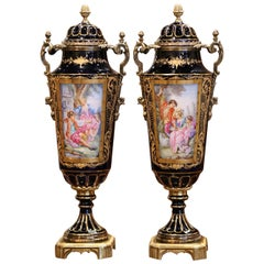 Pair of 19th Century French Blue Royal Porcelain and Bronze Sevres Urns
