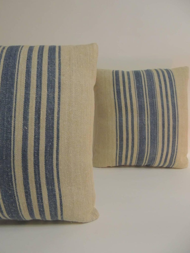 French Provincial Pair of French Blue and Natural Grain Sack Stripes Decorative Pillows For Sale