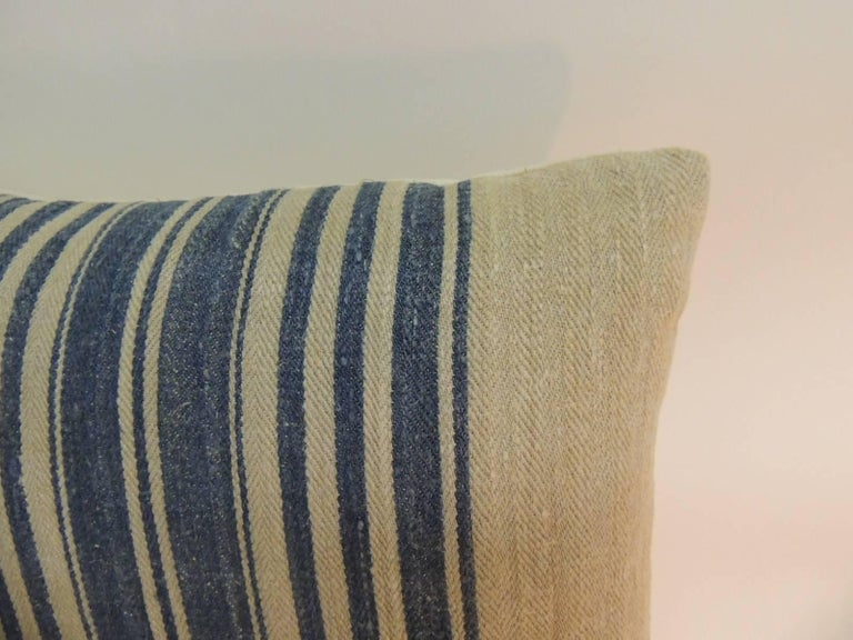 Hand-Crafted Pair of French Blue and Natural Grain Sack Stripes Decorative Pillows For Sale