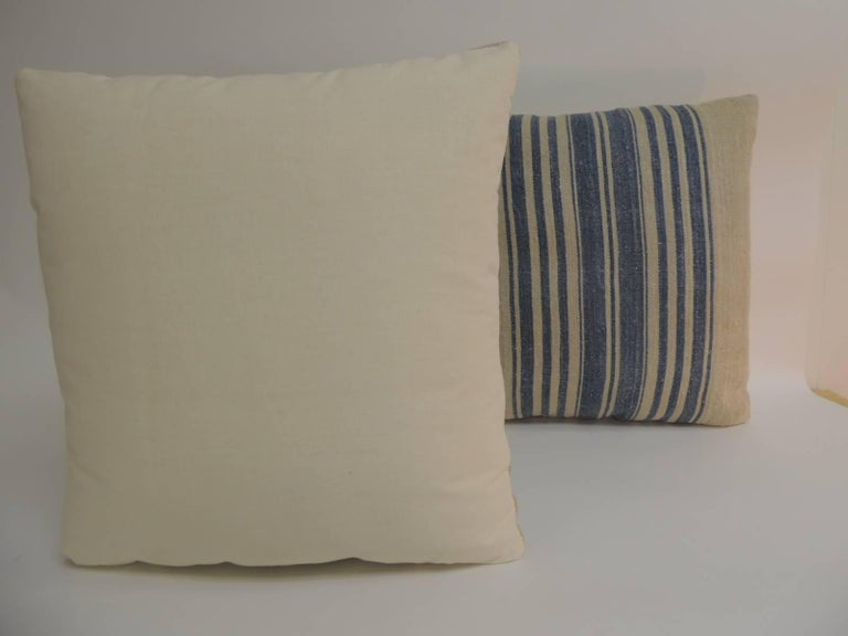Pair of French Blue and Natural Grain Sack Stripes Decorative Pillows In Good Condition For Sale In Fort Lauderdale, FL