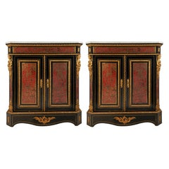 Pair of 19th Century French Boulle Inlaid Side Cabinets
