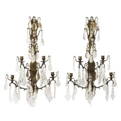 Pair of 19th Century French Brass and Crystal Sconces