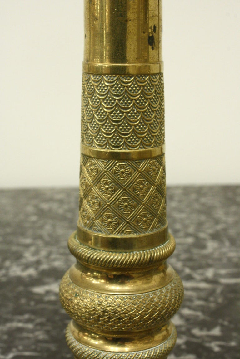 Pair of 19th Century French Brass Neoclassical Candlesticks For Sale 2