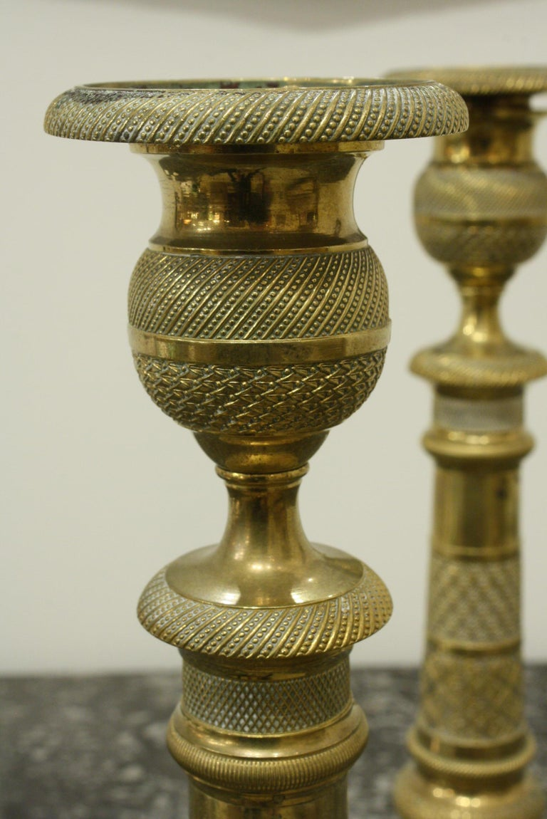 Pair of 19th Century French Brass Neoclassical Candlesticks For Sale 5