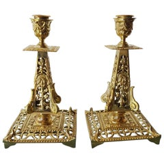 Pair of 19th Century French Brass Candlesticks