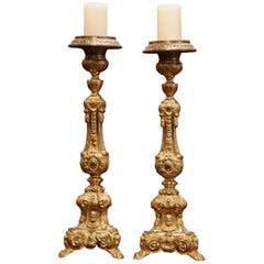 Pair of 19th Century French Brass Gilded Repousse Pic-Cierges Candleholders