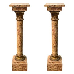 Pair of 19th Century French Breccia Marble Pedestals with Bronze Mounts