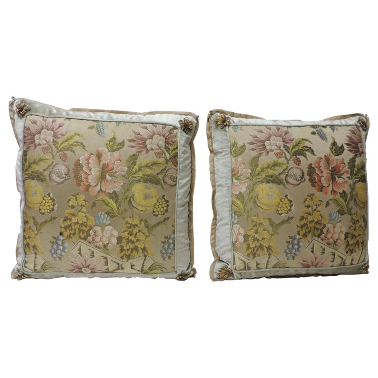 Pair of Green and Pink Antique French Brocade Floral Decorative Pillows For Sale