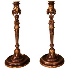 Pair of 19th Century French Bronze and Ormolu Barbedienne Candlesticks