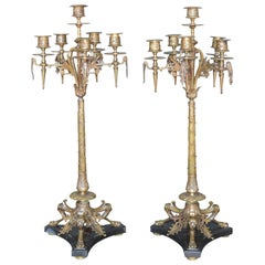 Pair of 19th Century French Bronze Candelabras
