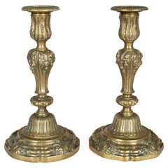 Pair of 19th Century French Bronze Candlesticks