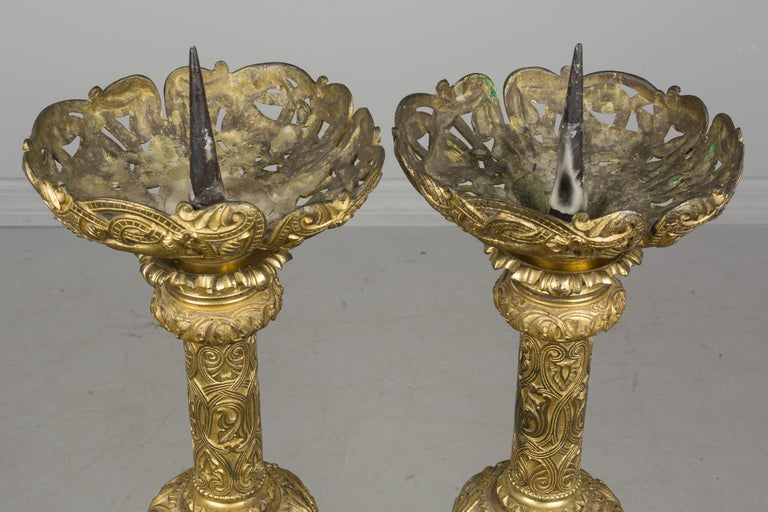Pair of 19th Century French Bronze Doré Candlesticks For Sale 8