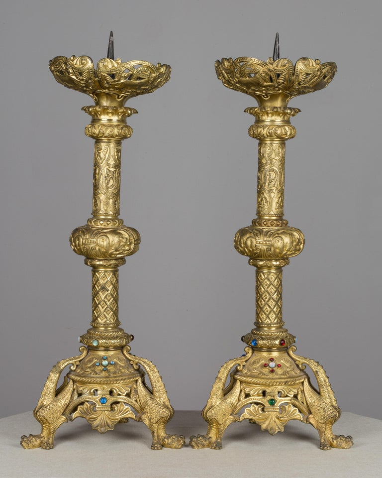 Baroque Pair of 19th Century French Bronze Doré Candlesticks For Sale