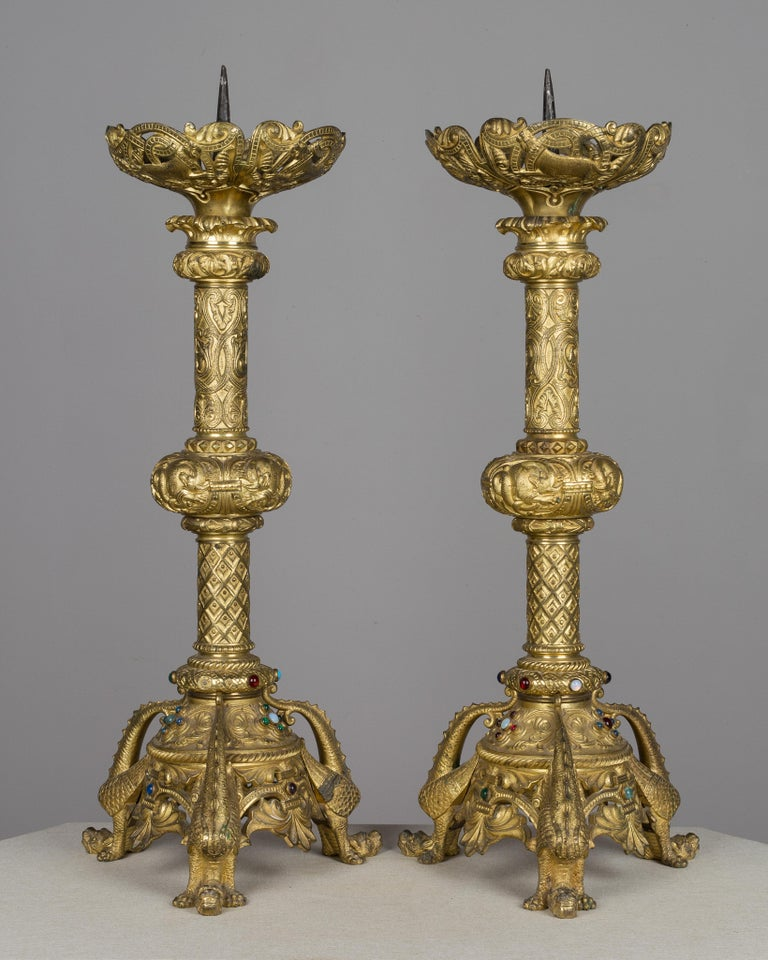 Cast Pair of 19th Century French Bronze Doré Candlesticks For Sale