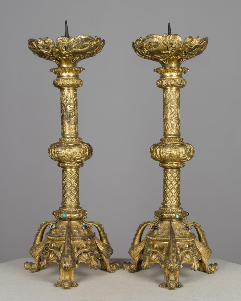 Pair of 19th Century French Bronze Doré Candlesticks In Good Condition For Sale In Winter Park, FL