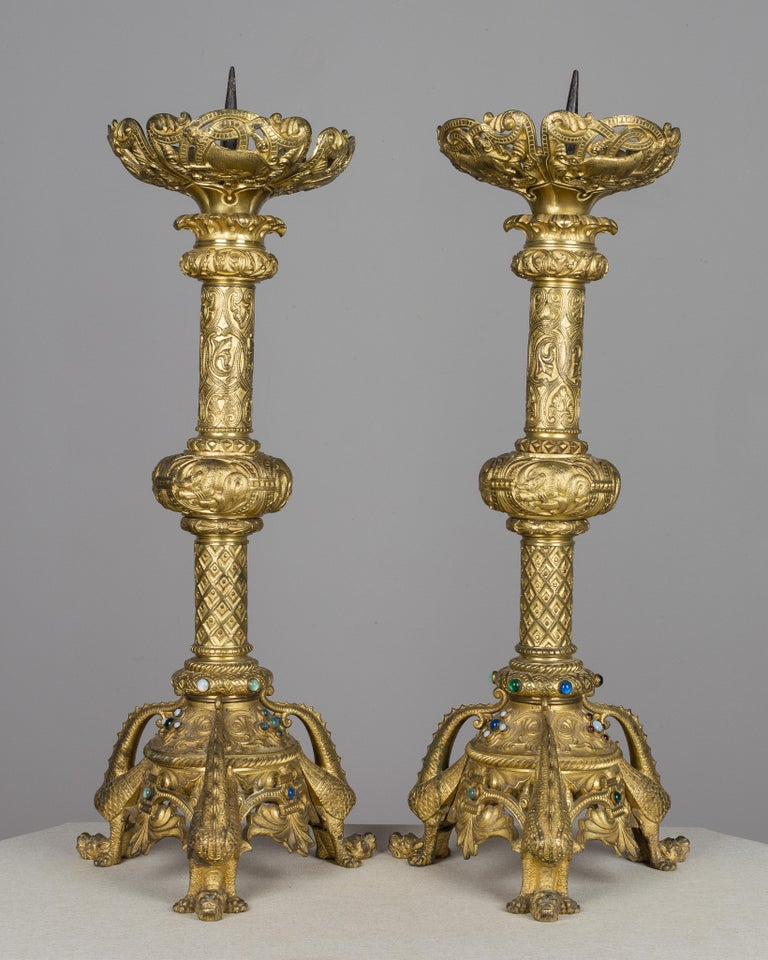 Pair of 19th Century French Bronze Doré Candlesticks For Sale 1