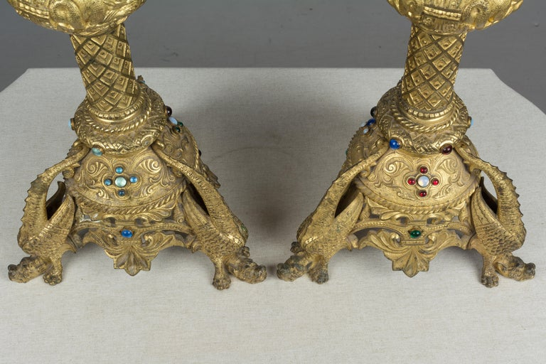 Pair of 19th Century French Bronze Doré Candlesticks For Sale 2