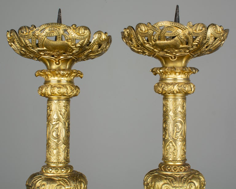 Pair of 19th Century French Bronze Doré Candlesticks For Sale 3