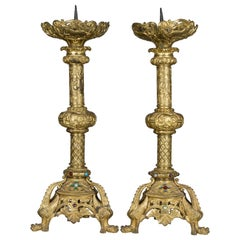 Pair of 19th Century French Bronze Doré Candlesticks